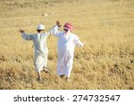 arabic people enjoying in nature | Shutterstock . vector #274732547