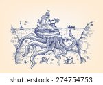 doodle of a giant octopus... | Shutterstock .eps vector #274754753