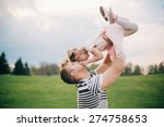 happy family. young father... | Shutterstock . vector #274758653