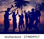 People Celebration Beach Party...