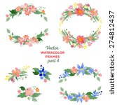 floral watercolor wreaths ... | Shutterstock .eps vector #274812437