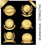 gold seals and corners   set of ... | Shutterstock .eps vector #274812743