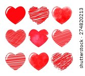 vector hearts set. hand drawn. | Shutterstock .eps vector #274820213