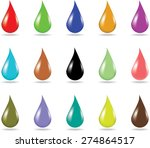 Set Of 15 Colorful Droplets On...