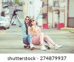 hipster fashion girlfriends... | Shutterstock . vector #274879937