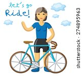 young woman with a blue bicycle. | Shutterstock .eps vector #274895963