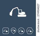 excavator icon on flat ui...