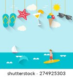 Summertime background with hanging summer icons, sea, surfer, boat, vector illustration.  | Shutterstock vector #274925303