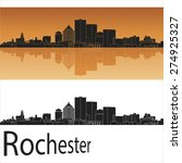 Rochester Skyline In Orange...