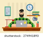 man at a desk in front of... | Shutterstock .eps vector #274941893