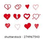 hand drawn grungy hearts set | Shutterstock . vector #274967543