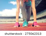 athletic woman going for a jog... | Shutterstock . vector #275062313