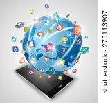 smart phones and globe... | Shutterstock . vector #275113907