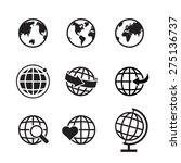 globe earth icons set  globe... | Shutterstock .eps vector #275136737