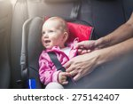 little baby girl in a car in a...   Shutterstock . vector #275142407