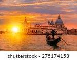 venetian gondolier punting... | Shutterstock . vector #275174153