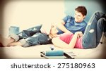 happy couple relaxing after... | Shutterstock . vector #275180963