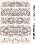 set vintage ornate border frame ... | Shutterstock .eps vector #275206007