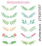 watercolour wreaths laurels set | Shutterstock .eps vector #275207357