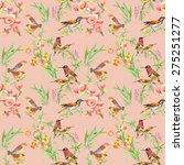 watercolor wild exotic birds on ... | Shutterstock . vector #275251277