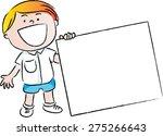 boy holding a blank card | Shutterstock .eps vector #275266643