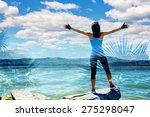 double exposure of athletic... | Shutterstock . vector #275298047