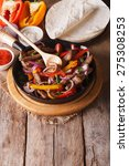 mexican fajitas and ingredients ... | Shutterstock . vector #275308253