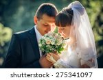 happy bride and groom on their... | Shutterstock . vector #275341097