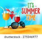 summer time title in sand and... | Shutterstock .eps vector #275346977
