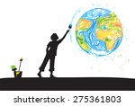 boy draws planet earth on white ... | Shutterstock .eps vector #275361803