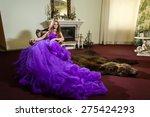 the girl in a luxury purple...   Shutterstock . vector #275424293