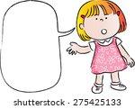little girl talk with blank... | Shutterstock .eps vector #275425133