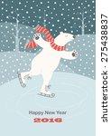 card with a polar bear skating... | Shutterstock .eps vector #275438837