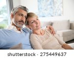 loving mature couple looking... | Shutterstock . vector #275449637