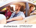 group of friends in car on road ... | Shutterstock . vector #275521517