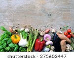 fresh vegetables on a wooden... | Shutterstock . vector #275603447