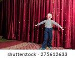 adorable little boy singing on... | Shutterstock . vector #275612633