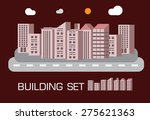 building set red tone concept... | Shutterstock .eps vector #275621363