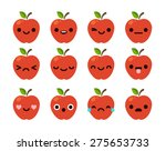 set of 12 modern flat emoticons ... | Shutterstock .eps vector #275653733