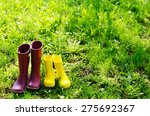 rubber boots for woman and... | Shutterstock . vector #275692367