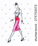 woman with elegant dress ... | Shutterstock . vector #275752073