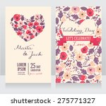 wedding cards with heart formed ... | Shutterstock .eps vector #275771327