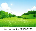 vector green landscape with...