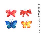 watercolor illustration of four ... | Shutterstock .eps vector #275839217