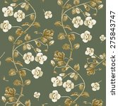 floral vector pattern on green... | Shutterstock . vector #275843747