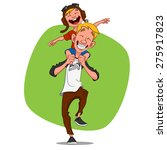 dad playing with his son.... | Shutterstock .eps vector #275917823