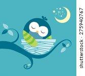 Cute Sleeping Baby Owl Vector...