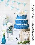 wedding rustic cake with flowers | Shutterstock . vector #275965277