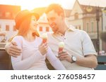 happiness couple with ice cream ... | Shutterstock . vector #276058457