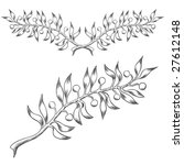 Olive branch and header design in hand-drawn or etched style. - stock vector